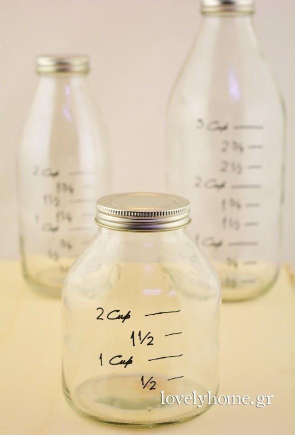 Σετ 3 γυάλινα μπουκάλια με μεζούρα και βιδωτό μεταλλικό καπάκι Κωδ:04105469 Τιμή χωρίς ΦΠΑ 9,23 ευρώ