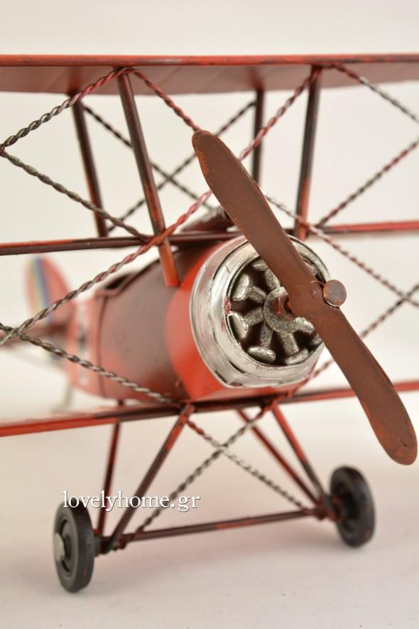 Μινιατούρα παλιού αεροπλάνου σε κόκκινο χρώμα Κωδ:04105979