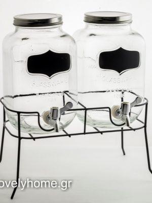 Γυάλες με βρυσάκι και μαυροπίνακα σε μεταλλική βάση
