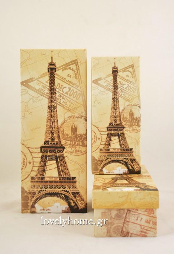 Σετ που αποτελείται από 3 διακοσμητικά κουτιά με θέμα το Παρίσι. Ιδανικά για τη οργάνωση προσωπικών ή άλλων αντικειμένων, αλλά και για τη συσκευασία δώρων Κωδ: 04102893 Τιμή χωρίς ΦΠΑ 6,16 ευρώ