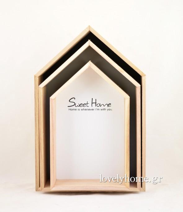 Σετ που αποτελείται από 3 ξύλινα ραφάκια σε σχήμα σπιτιού Sweet Home Κωδ:04105691 Τιμή χωρίς ΦΠΑ 23,08 ευρώ