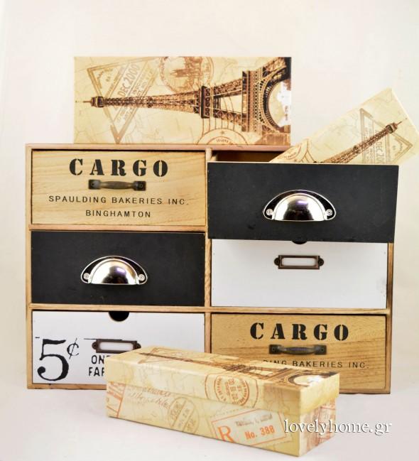 Ξύλινο ντουλαπάκι με 5 συρτάρια σε βιομηχανικό στυλ Κωδ:04105817 Τιμή χωρίς ΦΠΑ 31,22 ευρώ