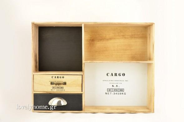 Ξύλινο ντουλαπάκι με ράφια και 2 συρτάρια, βιομηχανικού στυλ σε διαστάσεις 53x10 εκ. Κωδ:04105784 Τιμή χωρίς ΦΠΑ 29,87 ευρώ