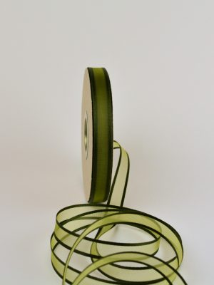 πράσινη , λαδί κορδέλα organza 15 mm