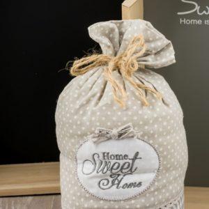 Στοπ πόρτας υφασμάτινο πουγκί Sweet Home Κωδ:04106535 Τιμή χωρίς ΦΠΑ 3,80 ευρώ