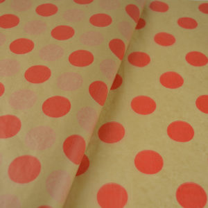 Tissue paper kraft large dots Red